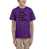 Eat sleep box repeat Black Kids T Shirt-T Shirts-Gildan-Purple-YXS (3-5 Year)-Daataadirect