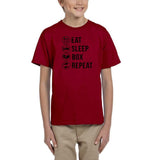 Eat sleep box repeat Black Kids T Shirt-T Shirts-Gildan-Red-YXS (3-5 Year)-Daataadirect
