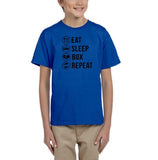 Eat sleep box repeat Black Kids T Shirt-T Shirts-Gildan-Royal Blue-YXS (3-5 Year)-Daataadirect