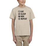 Eat sleep box repeat Black Kids T Shirt-T Shirts-Gildan-Sand-YXS (3-5 Year)-Daataadirect