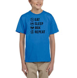 Eat sleep box repeat Black Kids T Shirt-T Shirts-Gildan-Sapphire-YXS (3-5 Year)-Daataadirect