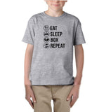 Eat sleep box repeat Black Kids T Shirt-T Shirts-Gildan-Sport Grey-YXS (3-5 Year)-Daataadirect
