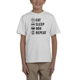 Eat sleep box repeat Black Kids T Shirt-T Shirts-Gildan-White-YXS (3-5 Year)-Daataadirect