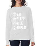 Eat sleep ride repeat Womens SweatShirt White-ANVIL-Daataadirect.co.uk