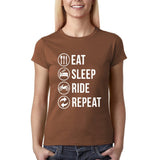 Eat sleep ride repeat Womens T Shirts White-Gildan-Daataadirect.co.uk