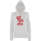 Eat Well And Travel Often Women Hoodies Red-AWD-Daataadirect.co.uk