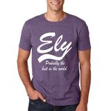"ELY Probably The Best City In The World Mens T Shirts White-T Shirts-Gildan-Heather Purple-S To Fit Chest 36-38"" (91-96cm)-Daataadirect"