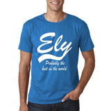 "ELY Probably The Best City In The World Mens T Shirts White-T Shirts-Gildan-Sapphire-S To Fit Chest 36-38"" (91-96cm)-Daataadirect"