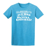 [daataadirect.co.uk]-Enfield Never Underestimate An Old Man Mens T-Shirt-t-shirts-Gildan-Heather Sapphire-S-Daataadirect