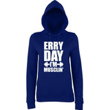 ERRY DAY I'M MUSCLIN' Women Hoodies White-AWD-Daataadirect.co.uk