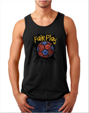 "Fair Play Barcelona Football Men Tank Top-Tank Tops-Gildan-Black-S To Fit Chest 36-38"" (91-96cm)-Daataadirect"