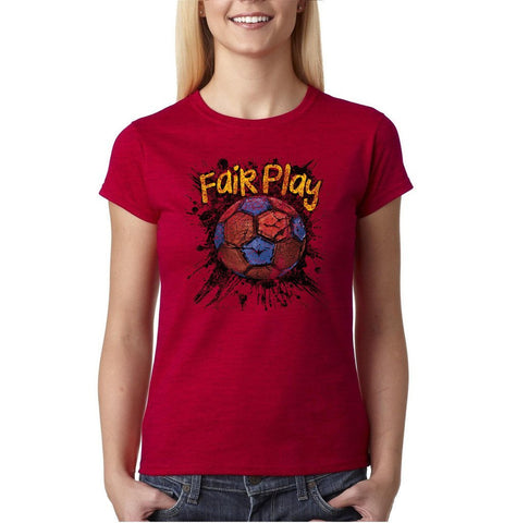 Fair Play Barcelona Football Women T Shirt-Gildan-Daataadirect.co.uk