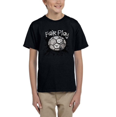 Fair Play Football B/W Kids T Shirt-Gildan-Daataadirect.co.uk