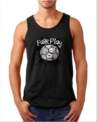 "Fair Play Football B/W Men Tank Top-Tank Tops-Gildan-Black-S To Fit Chest 36-38"" (91-96cm)-Daataadirect"