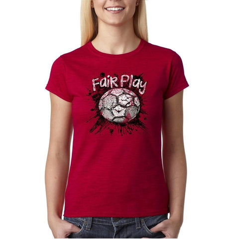 Fair Play Football B/W Women T Shirt-Gildan-Daataadirect.co.uk