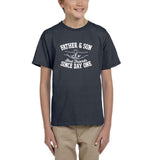 Father & Son Best Friend Since day One Kids T Shirts White-T Shirts-Gildan-Charcoal-YXS (3-5 Year)-Daataadirect