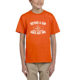 Father & Son Best Friend Since day One Kids T Shirts White-T Shirts-Gildan-Orange-YXS (3-5 Year)-Daataadirect