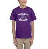 Father & Son Best Friend Since day One Kids T Shirts White-T Shirts-Gildan-Purple-YXS (3-5 Year)-Daataadirect