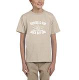 Father & Son Best Friend Since day One Kids T Shirts White-T Shirts-Gildan-Sand-YXS (3-5 Year)-Daataadirect