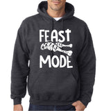 "Feast Mode Mens Hoodies White-Hoodies-Gildan-dark heather-S To Fit Chest 36-38"" (91-96cm)-Daataadirect"