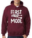 "Feast Mode Mens Hoodies White-Hoodies-Gildan-maroon -S To Fit Chest 36-38"" (91-96cm)-Daataadirect"