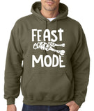 "Feast Mode Mens Hoodies White-Hoodies-Gildan-military green-S To Fit Chest 36-38"" (91-96cm)-Daataadirect"