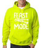 "Feast Mode Mens Hoodies White-Hoodies-Gildan-safety green-S To Fit Chest 36-38"" (91-96cm)-Daataadirect"
