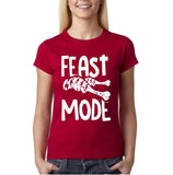 "Feast mode Womens T Shirt White-T Shirts-Gildan-Antique Cherry-S UK 10 Euro 34 Bust 32""-Daataadirect"