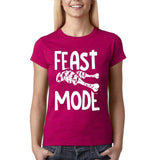"Feast mode Womens T Shirt White-T Shirts-Gildan-Antique Heliconia-S UK 10 Euro 34 Bust 32""-Daataadirect"