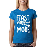 "Feast mode Womens T Shirt White-T Shirts-Gildan-Antique Sapphire-S UK 10 Euro 34 Bust 32""-Daataadirect"