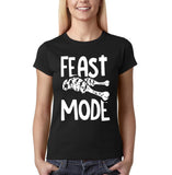 "Feast mode Womens T Shirt White-T Shirts-Gildan-Black-S UK 10 Euro 34 Bust 32""-Daataadirect"