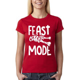 "Feast mode Womens T Shirt White-T Shirts-Gildan-cherry red-S UK 10 Euro 34 Bust 32""-Daataadirect"