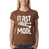 "Feast mode Womens T Shirt White-T Shirts-Gildan-Chestnut-S UK 10 Euro 34 Bust 32""-Daataadirect"