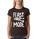 "Feast mode Womens T Shirt White-T Shirts-Gildan-Dark chocolate-S UK 10 Euro 34 Bust 32""-Daataadirect"