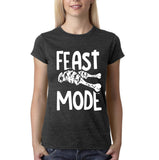 "Feast mode Womens T Shirt White-T Shirts-Gildan-Dark heather-S UK 10 Euro 34 Bust 32""-Daataadirect"