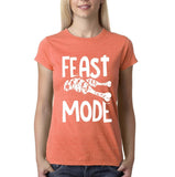 "Feast mode Womens T Shirt White-T Shirts-Gildan-Heather Orange-S UK 10 Euro 34 Bust 32""-Daataadirect"