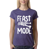 "Feast mode Womens T Shirt White-T Shirts-Gildan-Heather purple-S UK 10 Euro 34 Bust 32""-Daataadirect"