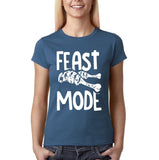 "Feast mode Womens T Shirt White-T Shirts-Gildan-indigo blue-S UK 10 Euro 34 Bust 32""-Daataadirect"