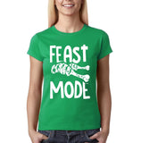 "Feast mode Womens T Shirt White-T Shirts-Gildan-Irish green-S UK 10 Euro 34 Bust 32""-Daataadirect"