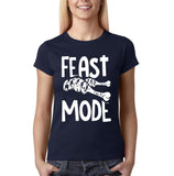 "Feast mode Womens T Shirt White-T Shirts-Gildan-Navy Blue-S UK 10 Euro 34 Bust 32""-Daataadirect"