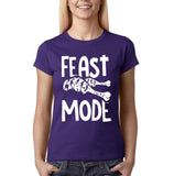 "Feast mode Womens T Shirt White-T Shirts-Gildan-Purple-S UK 10 Euro 34 Bust 32""-Daataadirect"