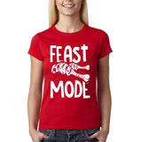 "Feast mode Womens T Shirt White-T Shirts-Gildan-Red-S UK 10 Euro 34 Bust 32""-Daataadirect"