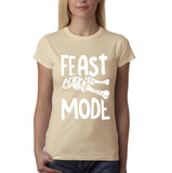 "Feast mode Womens T Shirt White-T Shirts-Gildan-sand-S UK 10 Euro 34 Bust 32""-Daataadirect"
