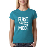 "Feast mode Womens T Shirt White-T Shirts-Gildan-Sapphire-S UK 10 Euro 34 Bust 32""-Daataadirect"