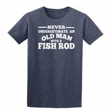 Fish Rod Never Underestimate An Old Man Mens T-Shirt-Gildan-Daataadirect.co.uk