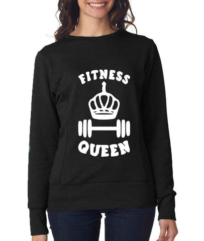 FITNESS QUEEN Womens Sweat Shirts White-ANVIL-Daataadirect.co.uk