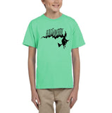 Flying Halloween Kids T Shirt-T Shirts-Gildan-mint green-YXS (3-5 Year)-Daataadirect