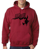 "Flying Halloween Mens Hoodies-Hoodies-Gildan-antique cherry-S To Fit Chest 36-38"" (91-96cm)-Daataadirect"