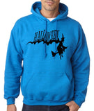 "Flying Halloween Mens Hoodies-Hoodies-Gildan-antique sapphire -S To Fit Chest 36-38"" (91-96cm)-Daataadirect"