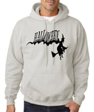 "Flying Halloween Mens Hoodies-Hoodies-Gildan-Ash-S To Fit Chest 36-38"" (91-96cm)-Daataadirect"